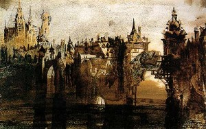 Victor_hugo-town_with_tumbledown_bridge 1847