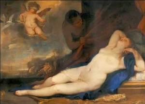 Luca Giordano (1634-1705) Vénus dormant avec Cupidon et satyre