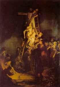 Descente croix-Rembrandt-huile sur toile-XVIIeme siècle