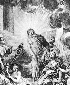 La Vérité rayonnante de lumière ; à droite, la Raison et la Philosophie lui arrachent son voile