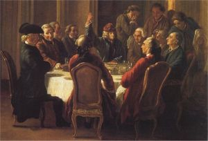 Jean Huber-Un dîner de philosophes-Peintre intime de Voltaire
