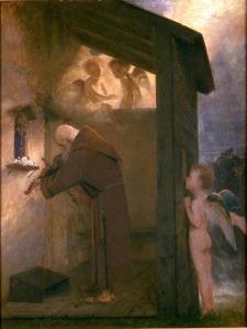 Arnold Böcklin-L'Ermite au violon. (Huile sur toile de 1884.)